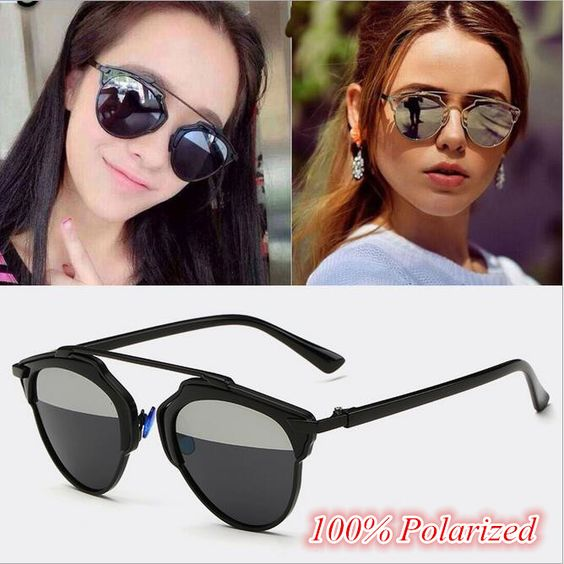 designer polarized sunglasses for women  2017 Retro Metal Women\u0027s Mirror Style Sun Glasses Metal Flat Top ...