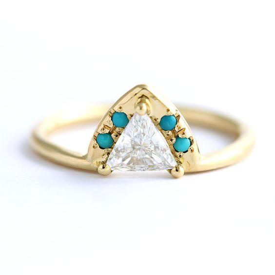 Diamond & Turquoise Engagement Ring - 0.5 Carat Trillion Diamond - 18k Solid Gold