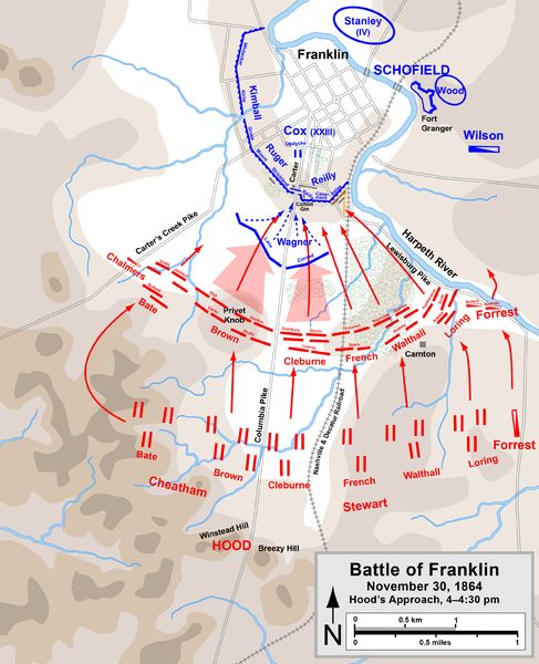 Battle of Franklin, November 30, 1864. Hood's approach 4-4:30 pm