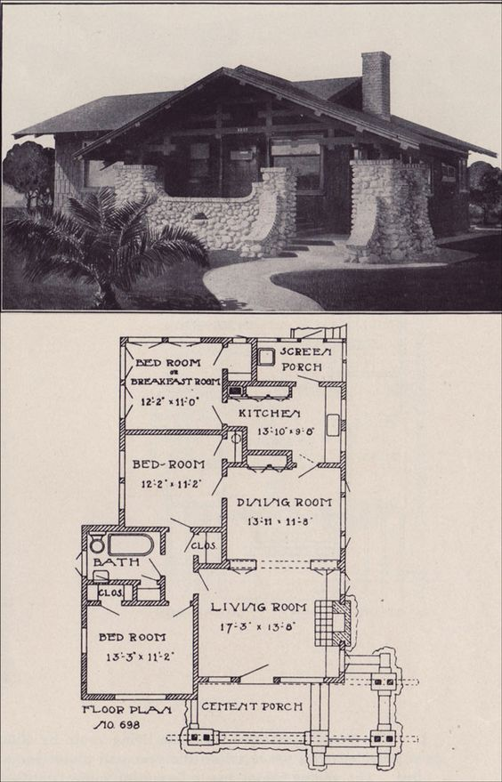 1912 small california bungalow plan los angeles for California bungalow house plans