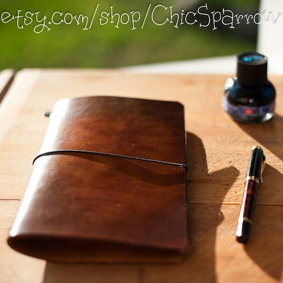 Leather Travelers Notebook WIDE Style in Brown