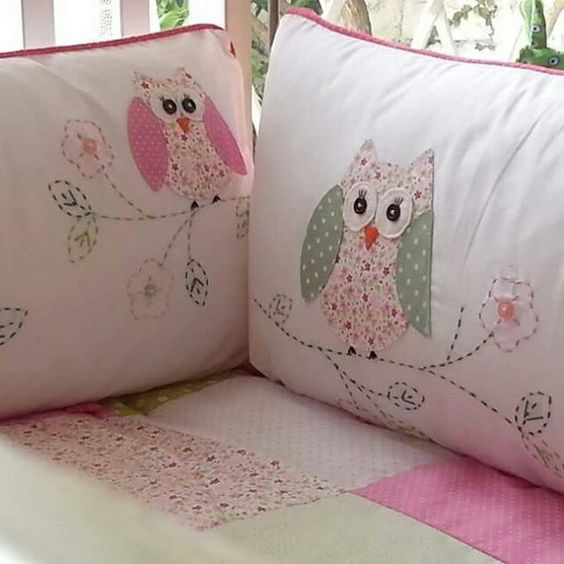 Kit berço patchwork menina coruja rosa www.ateliecolorir.com.br