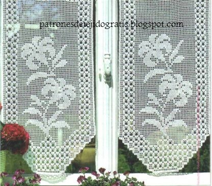 10 patrones de cortinas y cenefas crochet filet patrones - Cenefas para pared ...