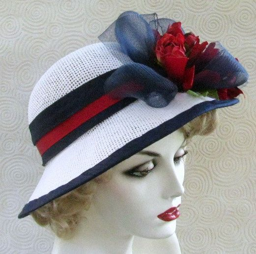 Womens Wide Brim Summer Hat in Red White and Blue by BuyGail, $125.00