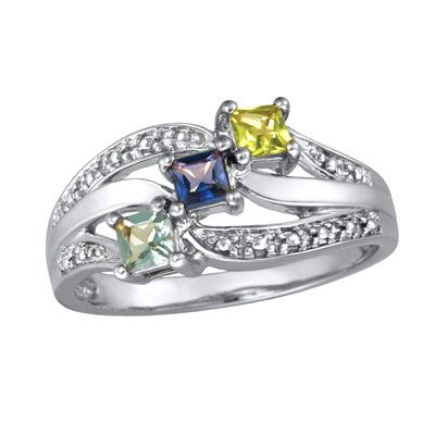 Ladies' Sterling Silver Shine Family Simulated Birthstone Ring by ArtCarved® (3 Stones) - Zales