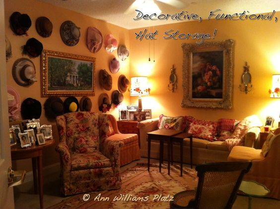 My designer friend, Ann Platz, found a creative solution for storing her mother's hat collection in her downsized assisted living apartment!
