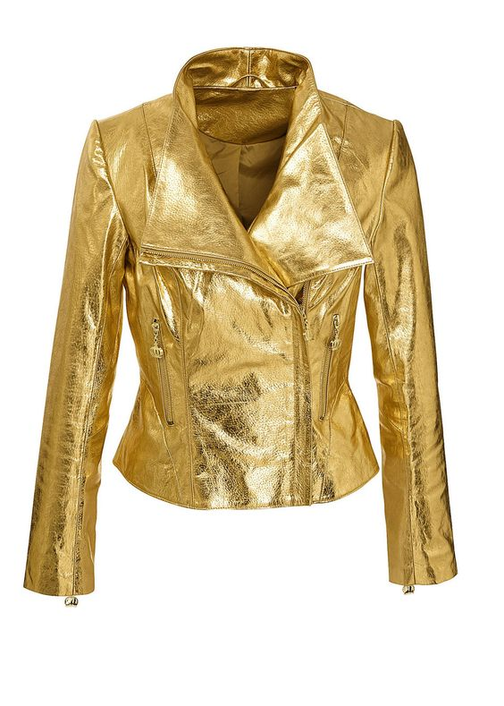 leather jacket in gold