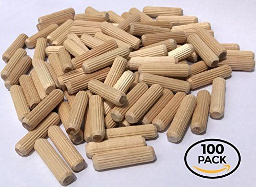Amazon Com 100 Pack 3 8 X 1 1 2 Wooden Dowel Pins Wood Kiln Dried Fluted And Beveled Made Of Hardwood In U S A Home Wood Kiln Natural Wood Crafts Wooden