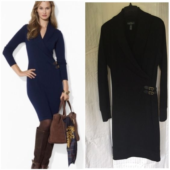 Lauren Jean Co, Ralph Lauren. Jersey dress size M BLACK jersey/knit dress. EUC. Super comfortable and very classy with coloured pantyhose and boots.  (Model photo is same dress in navy blue. I am selling a BLACK dress.) Ralph Lauren Dresses