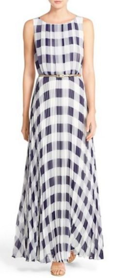 Love this pleated gingham maxi dress