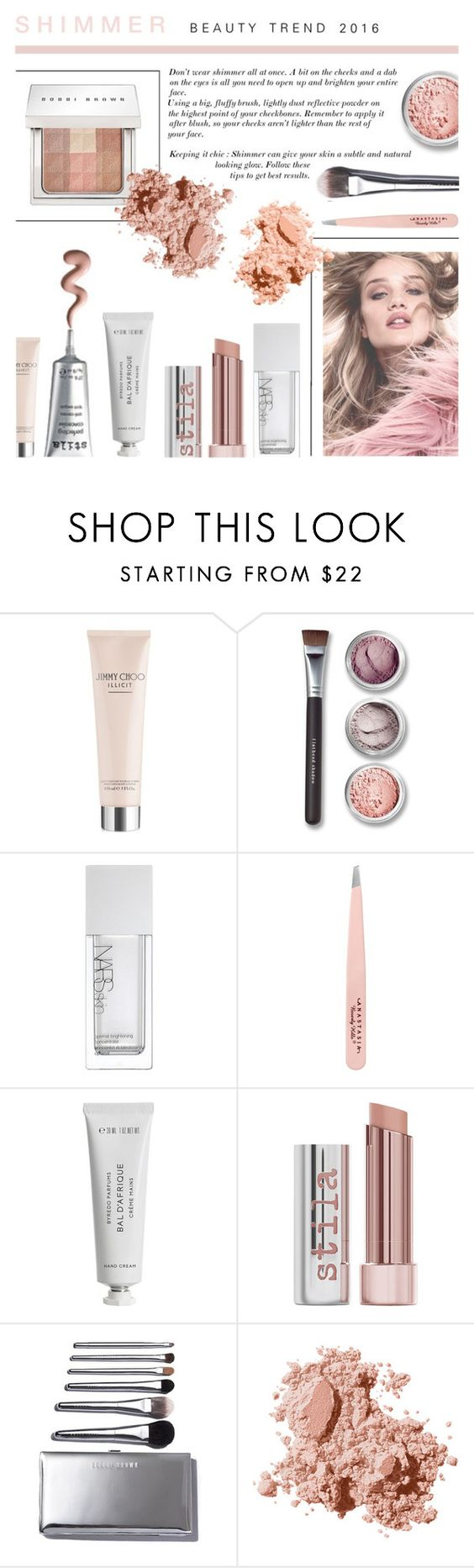 """""""Shimmer Beauty Trend - Pinks"""" by rachaelselina ❤ liked on Polyvore featuring beauty, Jimmy Choo, Bare Escentuals, NARS Cosmetics, Anastasia Beverly Hills, Byredo, Stila and Bobbi Brown Cosmetics"""