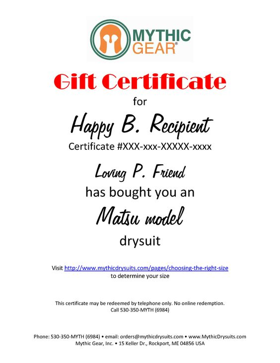 Matsu Drysuit Gift Certificate (Small only)