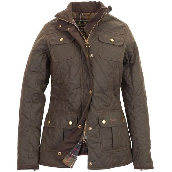 Womens Barbour Quilted Utility Waxed Jacket Olive Sale
