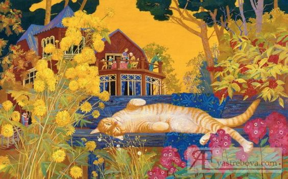Autumn cat painting. Holiday Village