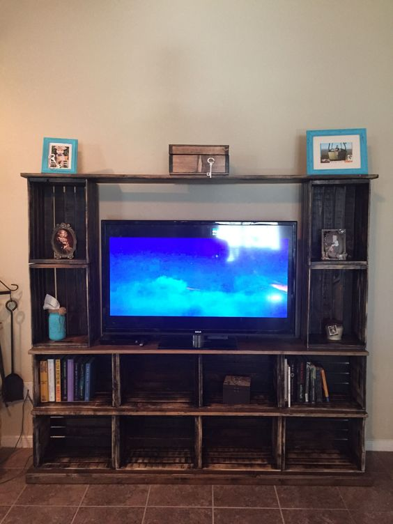Wooden crate entertainment center TV stand #tvstanddiy