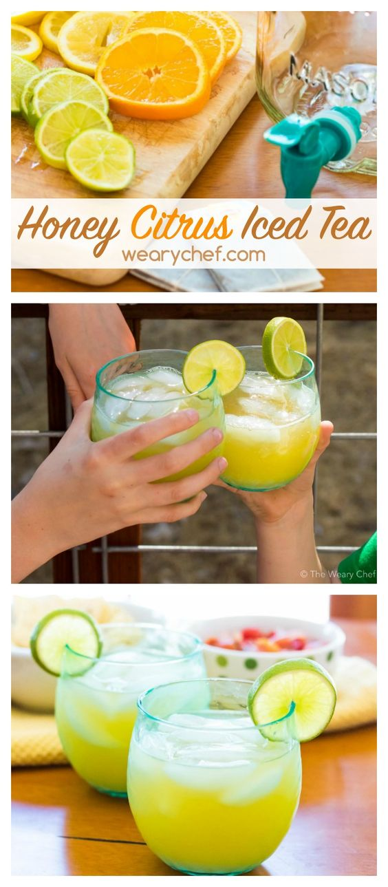 This refreshing citrus iced tea lightly sweetened with honey is perfect to sip with the whole family! #BrightBites #ad