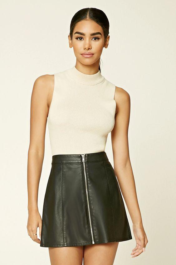 Leather Zip Skirt