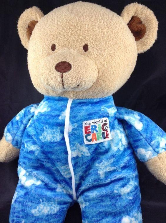 "Eric Carle 12"" Teddy Bear Plush Baby Lovey Tan Blue Cloud PJs Collage Feet #EricCarle"