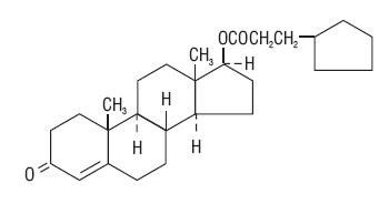 Testosterone Cypionate Description: The chemical name for Testosterone Cypionate is androst-4-en-3-one,17-(3-cyclopentyl-1-oxopropoxy)-, (17β)-. Its molecular formula is C27H40O3, and the molecular weight 412.61.