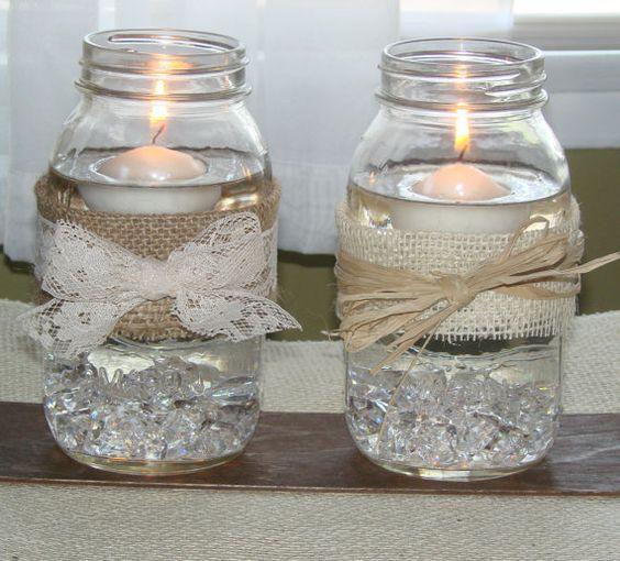 Mason jars with burlap, lace and floating candles.: Centerpiece, Floating Candles, Wedding Ideas, Mason Jars, Center Piece