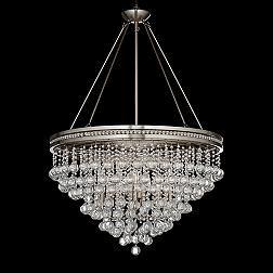 Regina Brushed Nickel 28-Inch-W Crystal Ceiling Light