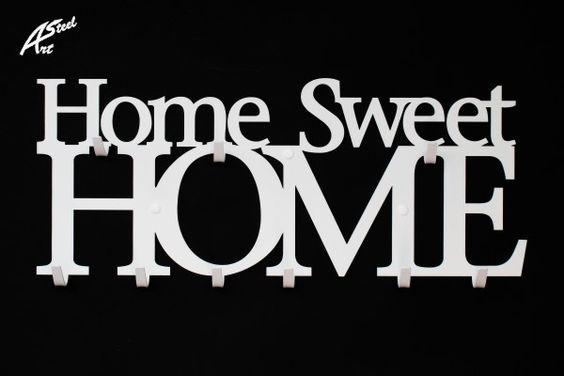 Kleider- und Schlüsselhaken,Home Sweet Home von Art-Steel auf DaWanda.com