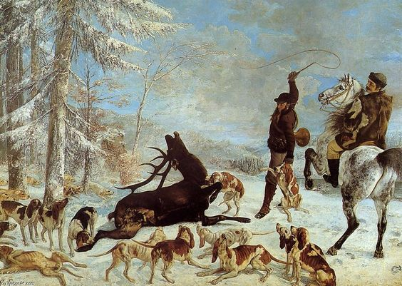 by Gustave Courbet (48), The Death of the Stag, A szarvas halála 1867