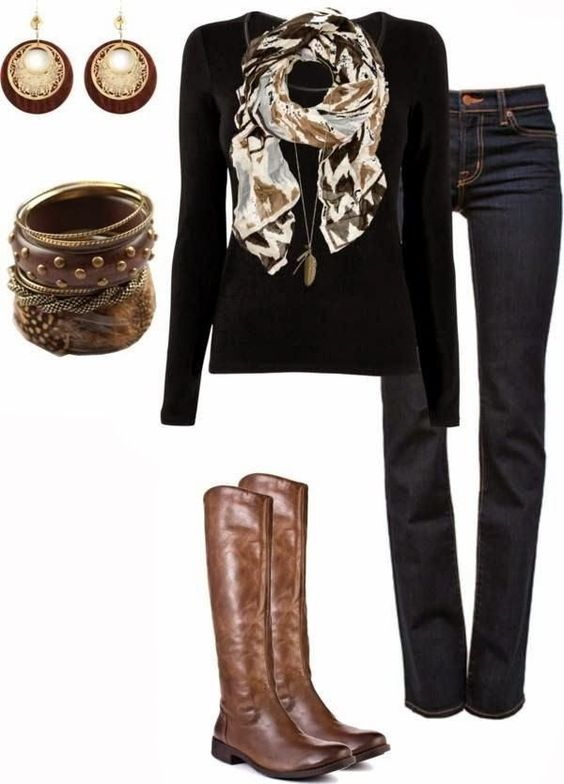 scarf black sweaters brown boots and scarfs