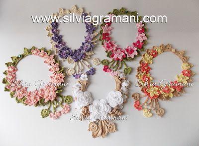 Colares de Crochê com Flores para Polinésia Francesa