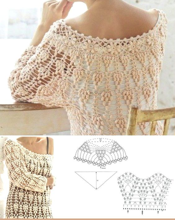 Patrones croch and patr n de t nica on pinterest for Gancho de ropa en ingles