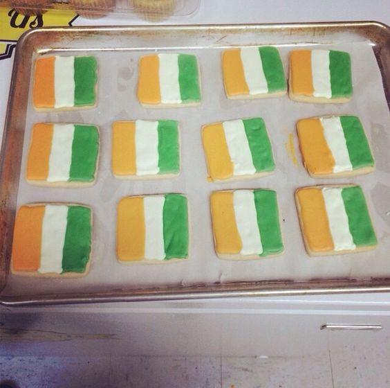 Irish flag cookies.