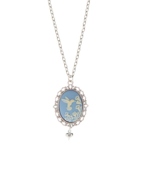 Look at this What a Novel Idea Blue Hummingbird Cameo Pendant Necklace on #zulily today!