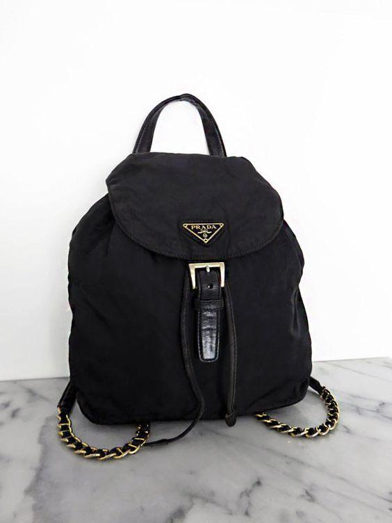 prada nylon black bag - PRADA Backpack Gold Chain Mini Black Nylon Leather by COTIVE ...