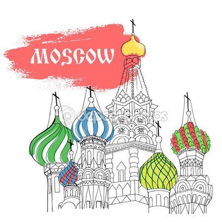Catedral de Moscú, Plaza Roja, en estilo boceto colorido — Ilustración de stock #84743184