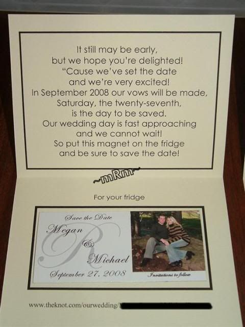 DIY Megan Michael save the date magnets – Save the Date Poems for Weddings
