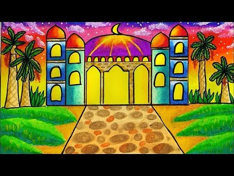 How To Draw Easy Mosque Drawing Step By Step With Oil Pastel Easy For Beginner Youtube Cara Menggambar Drawing Warna