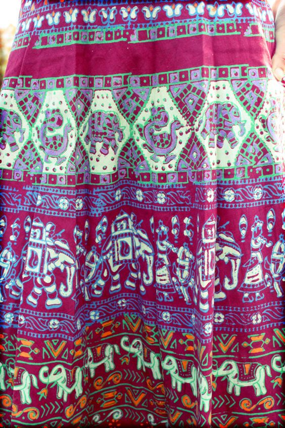 Long Bohemian Wrap Skirt Hippie Cotton Tapestry by Cloud9Jewels