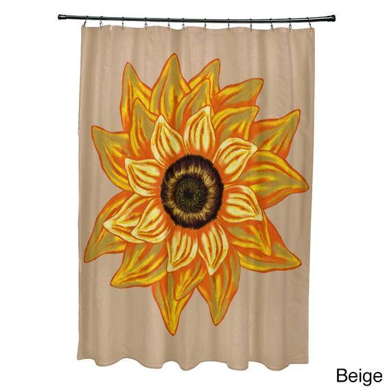 El Girasol Feliz Flower Print Shower Curtain