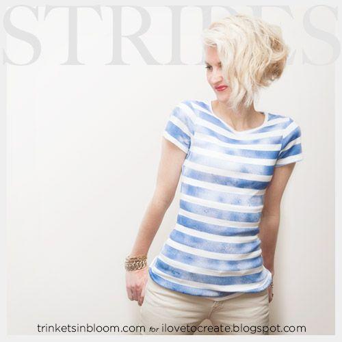 DIY Camiseta a rayas con pintura en aerosol