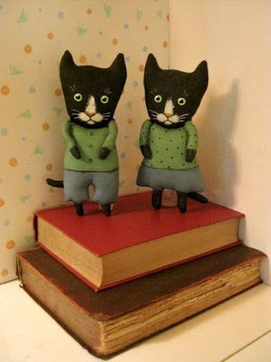 Black Cat Folk Art Doll Couple in honor of Black Cat Appreciation Day from @Susan52 via the blog My Cat Sylvia. Art from Etsy.