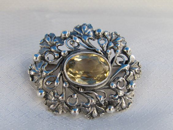 Antique Art Noveau Sterling and Citrine by newoldjewels on Etsy, $154.95
