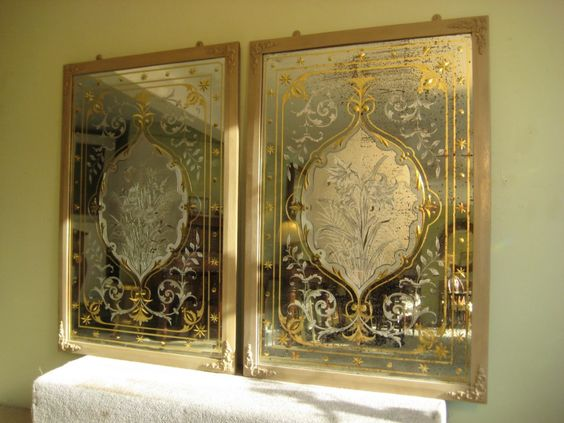 Pair Victorian Cut and Etched Glass Pub Mirrors