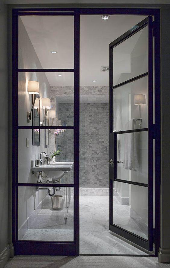 Portes rue and salle de bains on pinterest for Belles portes interieures