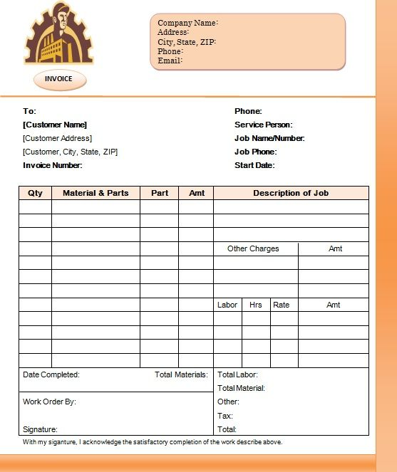 Parts And Labor Invoices For Contractors 6 Word Pdf Templates Template Sumo Invoicing Invoice Template Templates