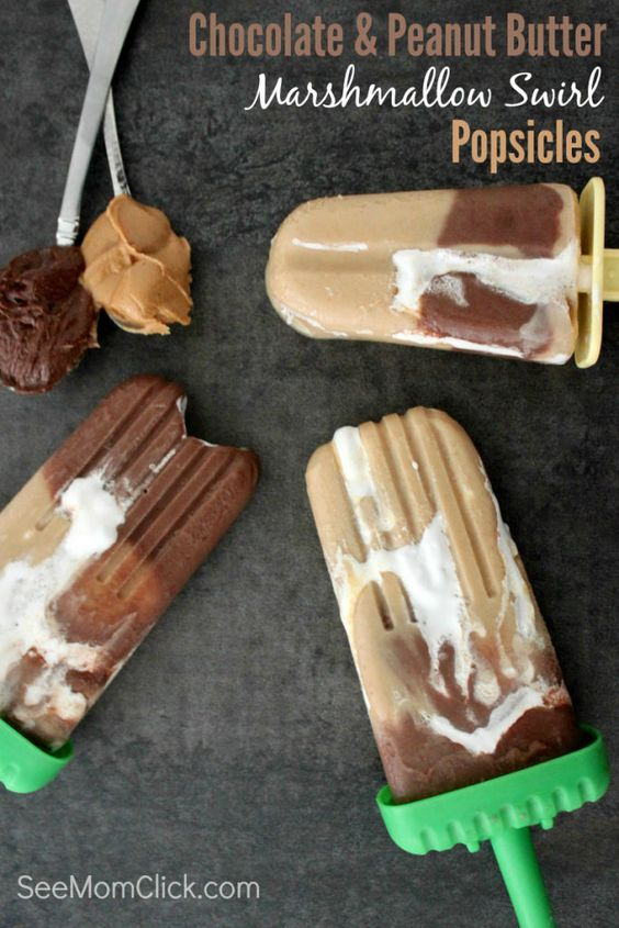 Talk about an indulgent summer treat. These Chocolate and Peanut Butter Marshmallow Swirl Popsicles are an amazingly good dessert recipe everyone will love!