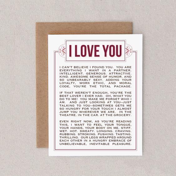 Consider, Adult love card