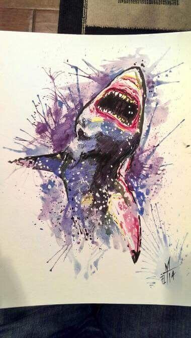 口を開けた水彩のホホジロザメ