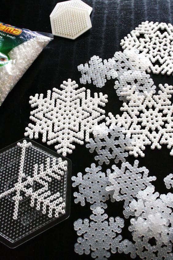 Fusible bead snowflakes