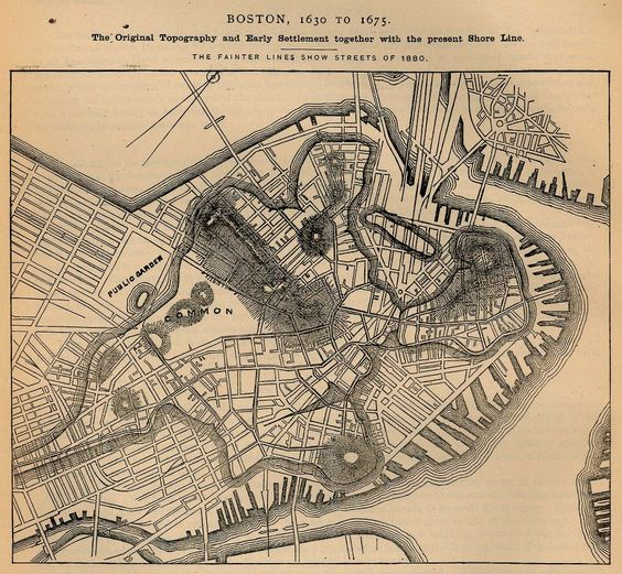 old map of Boston