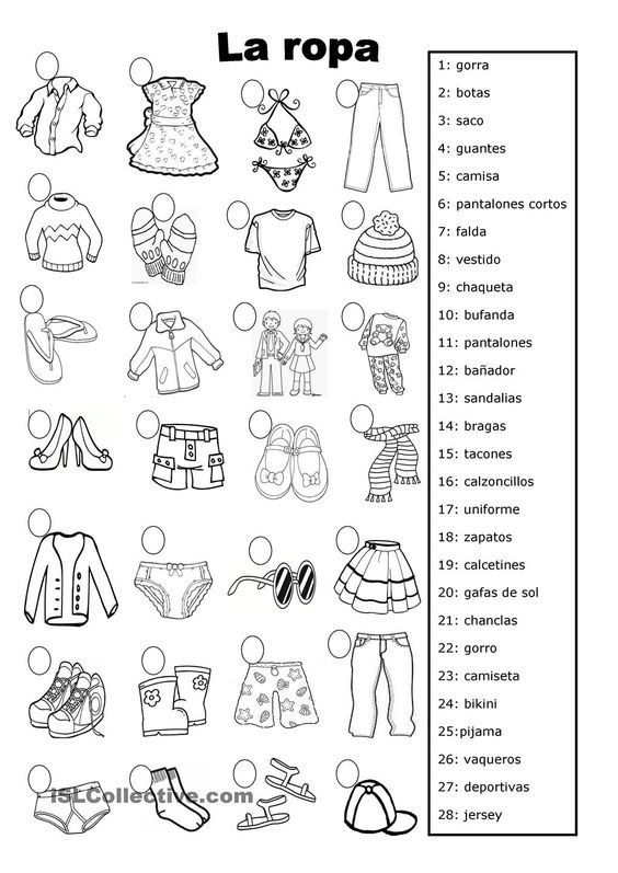 la ropa                                                                                                                                                      Más